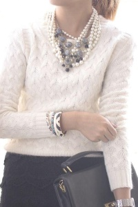 woman in white sweater and pearls