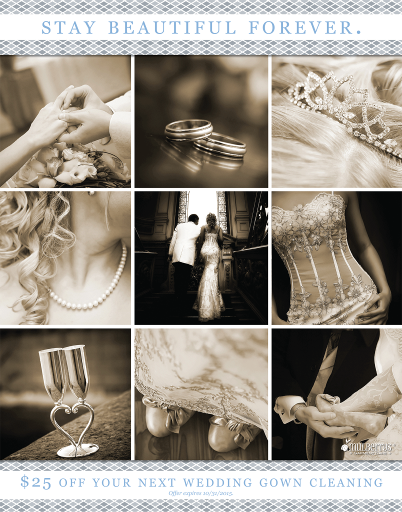 Save $25 off your wedding dress cleaning and preservation at Mulberrys