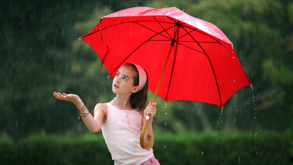 Girl with red umbrella in the rain