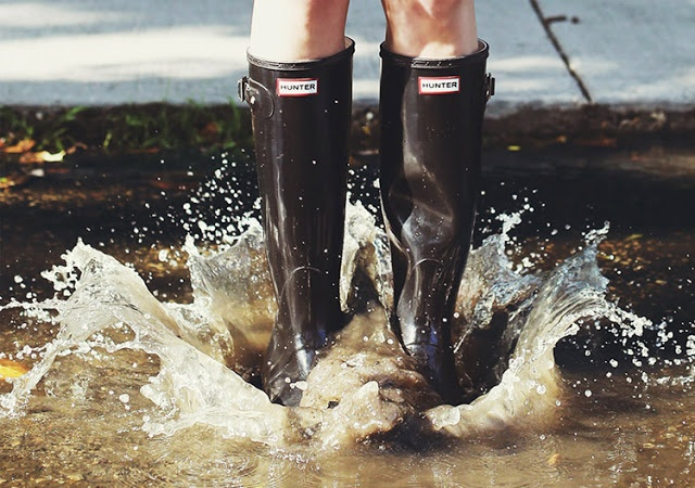 Hunter rainboots splashing in puddle