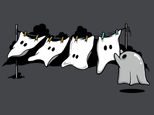 Ghost laundry on a clothesline