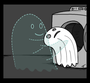 Ghost doing laundry