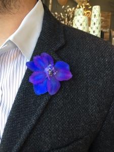 Purple delphinium boutonniere