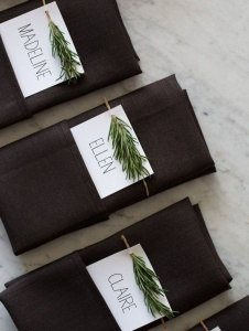 Seating-arrangement napkins with pine branch