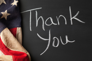 """Flag with Chalk board- """"Thank you!"""""""