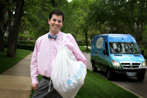 Man with Mulberrys Bag in front of Mulberrys Delivery Van