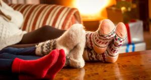 Family wears fuzzy socks