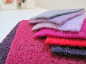 Dyed pink, red, and purple wool