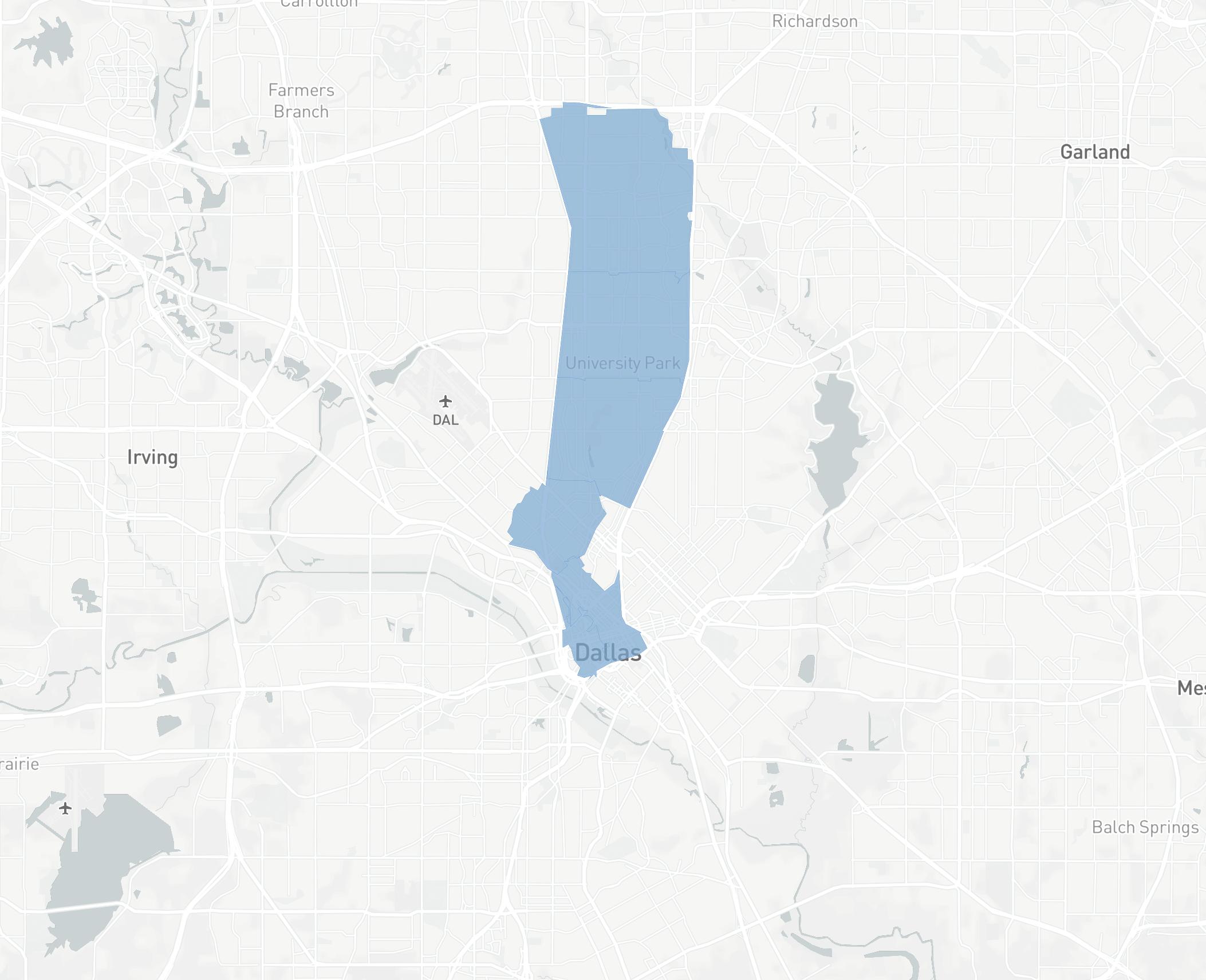 Dallas Pickup/Delivery Map